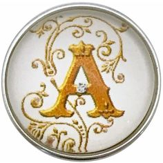 #5205 Gold Vine Letters of Alphabet (A-Z) 20mm for Snap Charm Jewelry