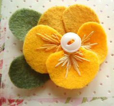 Yellow Felt Pansy Pin Golden Yellow Flower Pin by LizabethDezigns