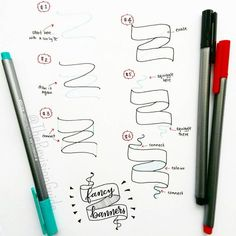 """""""How to draw banners... #TheRevisionGuide_HowTo add these to your notes and your notes would instantly become more interesting :) #TheRevisionGuide_Banners…"""""""