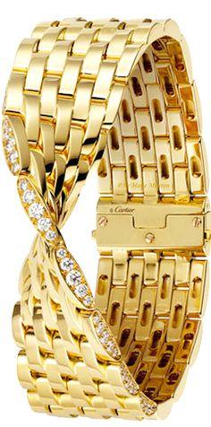 Cartier Gold and Diamond Bracelet (=) Bracelet Cartier, Sapphire Bracelet, Cartier Jewelry, Diamond Bracelets, Bling Jewelry, Bangle Bracelets, Jewelry Accessories, Jewelry Design, Cartier Gold