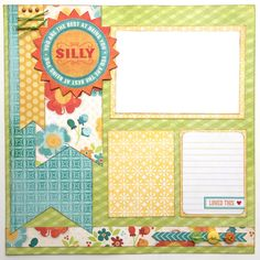 This pre-made layout features: ~ 1 page ~ Colors- shades of yellow, blue, green, orange, cream ~ 2 photo mats of various sizes and a journaling card ~ Embellishments including hand cut paper shapes, twine, brads, buttons, sticker ~ Printed die cut title ~ Inked paper edges ~ Created in a smoke-free and pet-free environment