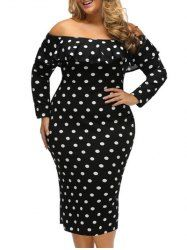 Plus Size Flounce Polka Dot Dress