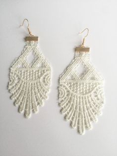 Bone White Venise Lace Earrings by twiddleANDtweet on Etsy