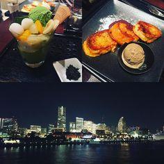 Marvelous evening ending with my matcha fix French toast and that view I will never tire of nor forget.  #Yokohama #Japan #yokohamabay #minatomirai #view #yokohamaskyline #gorgeous #stunning #beautiful #smile #happy #matcha #greentea #matchaicecream #matchasoftserve #frenchtoast #yummy #foodie #foodpics #foodpassion #横浜 #みなとみらい #きれい #眺め #抹茶 #抹茶アイス