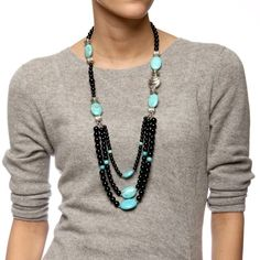 Pearlz Ocean Black Onyx and Turquoise Howlite Bib Necklace #OnyxNecklaces
