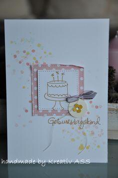 Heute gibt es ein Geburtstagskärtchen für euch…mit Torte! Die Karte ist für meine kleine Nichte entstanden. Die Stempel sind aus dem Set -Geburtstagspuzzle-. Das Set ist so vielseitig einsetz…