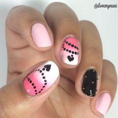Gradient nails using Bonita Polishes nail polishes and Caviar Beads.