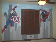 Superheroes Mural by Leslie Michaels Spiderman mural Captain America Mural Kids Room murals  Childlike Chicago skyline mural 2013