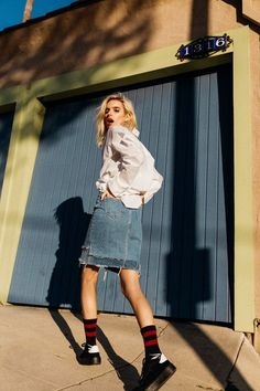 BAGGY BUTTON DOWN + DENIM SKIRT