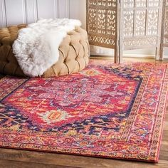 nuLOOM Traditional Persian Medallion Orange Rug (4' x 6') | Overstock.com Shopping - The Best Deals on 3x5 - 4x6 Rugs