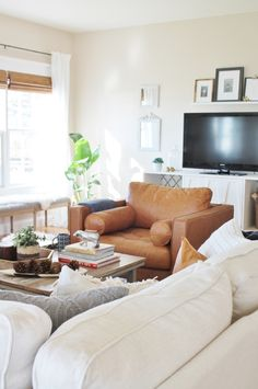 Design Series on You Tube-How to pick the right furniture & my Ikea sectional. Modern Farmhouse Family Room with linen sofa and leather chair.