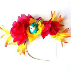 Bright Tropical Bird Tiki Flower Crown Headband