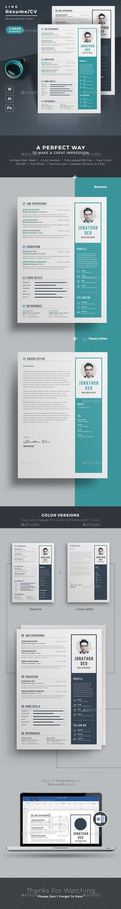 Resume Word / CV Template with super modern and professional look #word •…