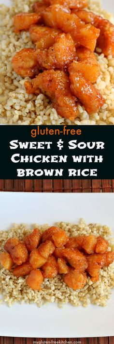 Gluten-free Sweet and Sour Chicken with Brown Rice - I miss ordering this from the Chinese take-out place! Now I can make at home with this recipe! Healthier too! #glutenfree #recipes #gluten #healthy #recipe