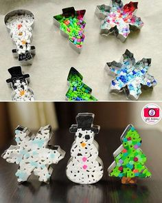 Creative Christmas Ornaments DIY from Cookie Cutters - Diy Christmas Ornaments - Clay Christmas Decorations, Christmas Crafts For Kids, Christmas Activities, Diy Christmas Ornaments, Christmas Projects, Christmas Fun, Holiday Crafts, Holiday Decor, Navidad Simple