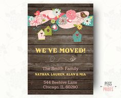 Wood Moving Announcement Printable, New Address Announcement by PegsPrints on Etsy