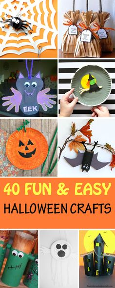40 Halloween crafts for kids made with paper, paper roll, paper plate, paper bag, cardboard and egg carton. Create vampires, witches, bats, pumpkins, ghosts, Frankenstein, spiders, witch broom, haunted house and more. | at Non-Toy Gifts