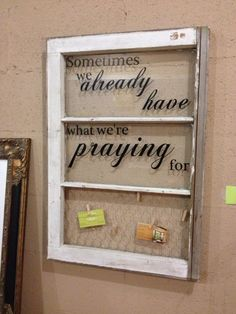 old window with quote and chicken wire