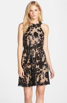 Free shipping and returns on Dress the Population 'Hannah' Sequin Lace Fit & Flare Dress at Nordstrom.com. Ladylike floral lace covers a fit-and-flare dress that's ready to party with after-hours sparkle. The high neckline and low-cut back are more charming ways this lacy LBD mixes business with pleasure.