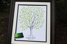 Hand drawn Wedding Guest book Fingerprint Tree, Guest book alternative, Hand drawn sketched wedding tree for up to 180 guests. $50.00, via Etsy.