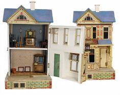 GOTTSCHALK small dollhouse, 46 cm, original wallpaper