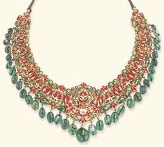 AN INDIAN DIAMOND, EMERALD AND ENAMEL NECKLACE  Designed as an openwork bib set with table-cut diamonds within foiled surrounds, suspending a graduated emerald bead fringe, to the polychrome enameled reverse decorated with red, green and white floral motifs, and adjustable green cord, mounted in gold, in a purple velvet fitted case by carole