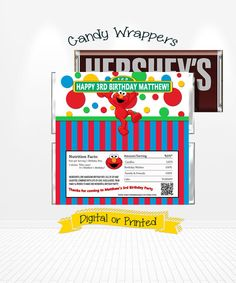 Elmo Birthday Candy Bar Wrappers Printed or Digital Copy 24 Hr Turnaround! Sesame Street Party Favors Hershey Wrappers Elmo Party