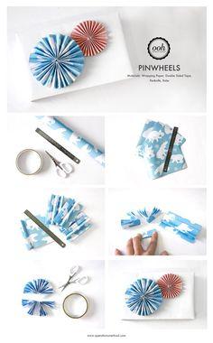 DIY Pinwheel Gift Wrapping Embellishment Tutorial