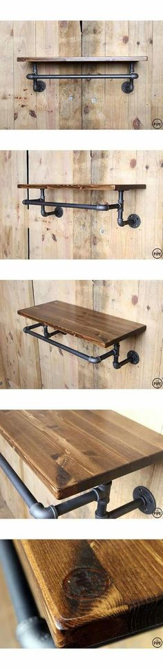 Best how to & step by step directions for assembling your plumbers pipe for Basic shelf & towel rack. - Home Projects We Love Industrial Pipe Shelves, Industrial Style, Pipe Shelving, Vintage Industrial, Industrial Lamps, Pipe Bookshelf, Kitchen Industrial, Industrial Farmhouse, Pipe Furniture