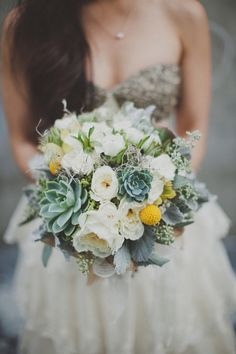 Succulents and flowers bouquet option. Maybe switch the yellow flowers for something blue/purple? Neat concept