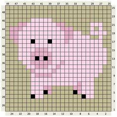 Animals Archives - The Crafty Co C2c Crochet Blanket, Crochet Pig, Pixel Crochet, Crochet Cross, Tapestry Crochet, Crochet Chart, Knitting Charts, Knitting Patterns, Crochet Patterns