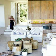 South African beach house. love the stools