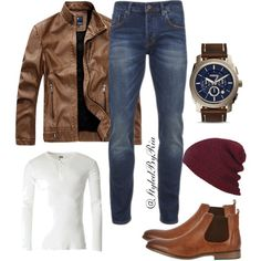 leather brown by stylebyria on Polyvore featuring Scotch & Soda, River Island, FOSSIL, men's fashion and menswear