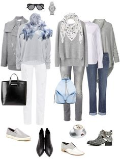 Ensemble: Casual Light Grey and White. Love this look. Especially with the baby blue accents and both scarves. Winter Outfits, Casual Outfits, Fashion Outfits, Womens Fashion, Grey Jeans Outfit, Gray Jeans, Brunch Outfit, Fashion Capsule, Inspiration Mode