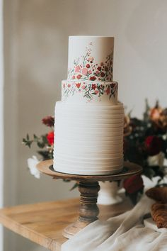 """This fondant cake is the perfect size if you're just looking for a small cutting cake, fondant pleated with hand painted floral. Unusual Wedding Cakes, White Wedding Cakes, Cool Wedding Cakes, Beautiful Wedding Cakes, Beautiful Cakes, Painted Wedding Cake, Purple Wedding, Gold Wedding, Amazing Cakes"