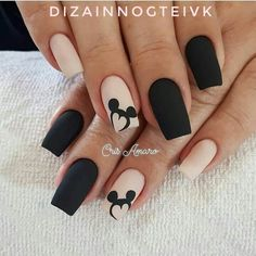 Uñas Disney Mickey Mouse – You are in the right place about nail art matte Here we offer you the most beautiful pictures about the nail art animal you are looking for. When you examine the Uñas Disney Mickey Mouse – part of the picture you can … Disney Acrylic Nails, Best Acrylic Nails, Matte Nails, Easy Disney Nails, Disney Nails Art, Matte Pink, Black Nail Designs, Acrylic Nail Designs, Nail Art Designs