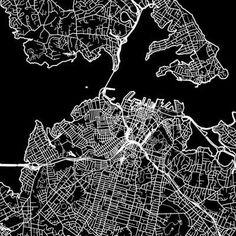 Auckland Mapscapes - Graphic Black & White Print