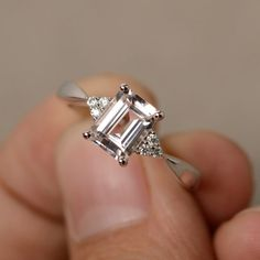 Morganite Ring Engagement Ring Emerald Cut Sterling Silver Promise Ring Pink Morganite Ring by KnightJewelry on Etsy https://www.etsy.com/au/listing/467407358/morganite-ring-engagement-ring-emerald