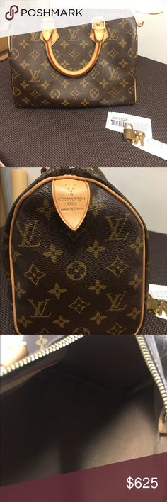 LV Speedy 25 Authentic with lock keys n dust bag NO TRADES - Pet & Smoke free home.  Serial #MB3160 Authentic.  comes with dust bag keys n lock.  Some small foundation stains inside overall very good condition. Louis Vuitton Bags Totes