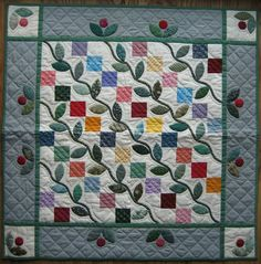 Four Patch with Vines Miniature Quilt