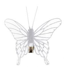 Papillon blanc transparent sur pince les 4