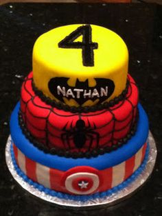 Cakes by Rosalyn: Super Hero Cake; love the number on top.