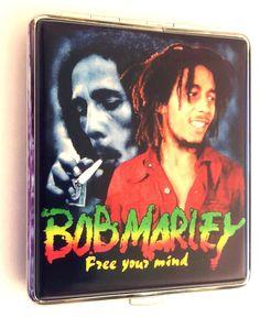 BOB MARLEY Design KING SIZE CIGARETTE CASE HOLDER BOX Holds 18 - 20 Cigarettes