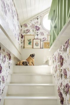 """Bold Wallpaper - As firm believers that there's no such thing as a """"pass-through space,"""" the owners of this Catskills home planted floral wallpaper up the stairwell, which continues into the bedroom. Stair Walls, Stairs, Home Decor Inspiration, Design Inspiration, Design Ideas, Bold Wallpaper, Beautiful Wallpaper, Flower Wallpaper, Attic Spaces"""