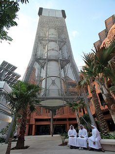 Credit: Ali Haider/EPA The Teflon-coated wind tower in Masdar City, which shows citizens how much energy the community is consuming