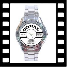 Buddy Holly - Coral Records Label - Everyday - Stainless Steel wristwatch from www.RetroHound.co.uk  Chunky and weighty little collectible for lovers of rock n' roll legend Buddy Holly