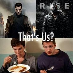 Oh my gosh :) Benedict Cumberbatch and Tom Hardy, Star Trek: into darkness and The Dark Knight Rises