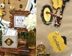 Graduation Party Ideas @Ericka Glick  You might think this is cheesy but i speak from experience, this is very meaningful to have peoples advice and words of wisdom. also i like the vintage way its displayed :)