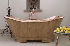 Sloop Copper Bath Clad with Oak or Teak Eat Sleep Live, Oak Cladding, Rustic Bathtubs, Sofa Workshop, Copper Interior, Gold Bathroom Accessories, Cast Iron Bath, Copper Bath, Roll Top Bath