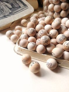 Vintage Wooden Numbered Member Draw Balls Ten by MyVintageSupplies